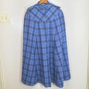 Glen of Michigan blue/plaid reversible cape poncho